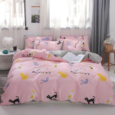 2019新款-ins风全棉学生三件套 床单款三件套0.9m床-1.2m床 可爱猫咪