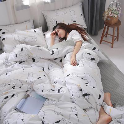 2019新款-ins风全棉学生三件套 床单款三件套0.9m床-1.2m床 喵星人-米