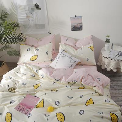 2019新款-ins风全棉学生三件套 床单款三件套0.9m床-1.2m床 你好柠檬