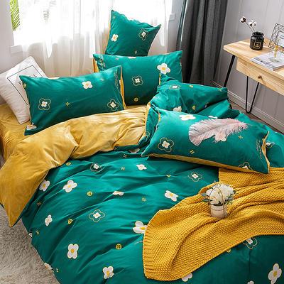 2019新款-棉加绒轻奢风泫雅风保暖四件套 床单款四件套1.5m(5英尺)床 梵克