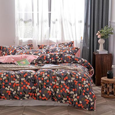 2019新款-棉加绒轻奢风泫雅风保暖四件套 床单款四件套1.5m(5英尺)床 硕果