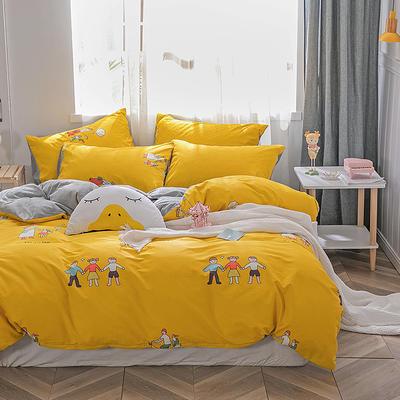 2019新款-棉加绒轻奢风泫雅风保暖四件套 床单款三件套1.2m(4英尺)床 玩伴