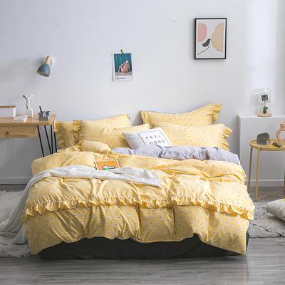 2019新款-小清新花边拉舍尔绒 牛奶绒保暖四件套 床单款1.5m(5英尺)床 小雏菊-黄