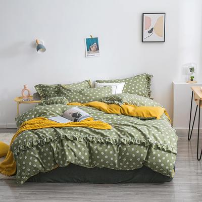2019新款-小清新花边拉舍尔绒 牛奶绒保暖四件套 床单款1.5m(5英尺)床 小雏菊-绿