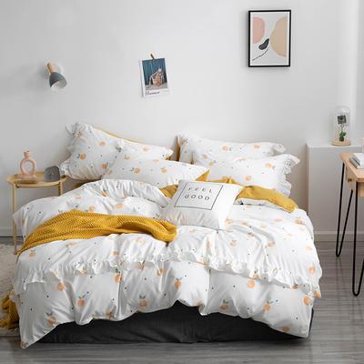2019新款-小清新花边拉舍尔绒 牛奶绒保暖四件套 床单款1.5m(5英尺)床 小桔子