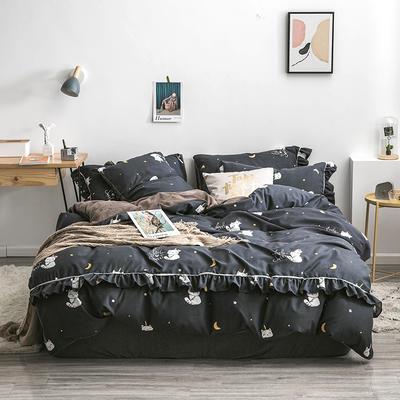2019新款-小清新花边拉舍尔绒 牛奶绒保暖四件套 床单款1.5m(5英尺)床 月亮猫-黑