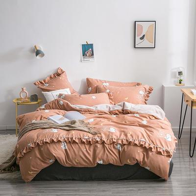2019新款-小清新花边拉舍尔绒 牛奶绒保暖四件套 床单款1.5m(5英尺)床 月亮猫-驼