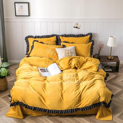 2020新款-sweet牛奶绒绣花荷叶边保暖四件套 床单款1.5m床-1.8m床 sweet-芥末黄