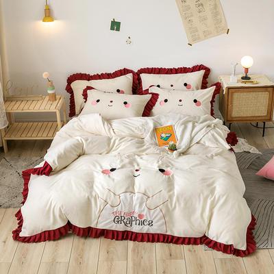 2020新款-圣诞小鹿牛奶绒绣花荷叶边保暖四件套 床单款1.5m床-1.8m床 圣诞小鹿-白