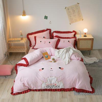 2020新款-圣诞小鹿牛奶绒绣花荷叶边保暖四件套 床单款1.5m床-1.8m床 圣诞小鹿-粉