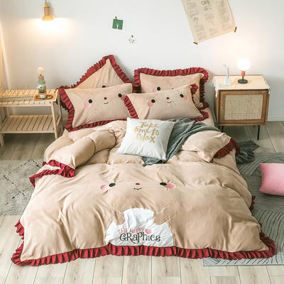 2020新款-圣诞小鹿牛奶绒绣花荷叶边保暖四件套 床单款1.5m床-1.8m床 圣诞小鹿-驼