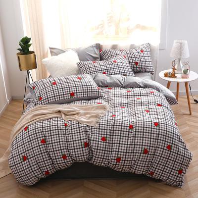 2020新款-超柔磨毛+水晶绒绒四件套 床单款四件套1.5m(5英尺)床 草莓田格