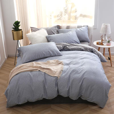 2019新款-超柔磨毛+水晶绒绒四件套 床单款四件套1.5m(5英尺)床 格兰甜心-蓝