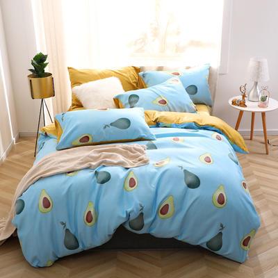 2020新款-超柔磨毛+水晶绒绒四件套 床单款四件套1.8m(6英尺)床 牛油果-蓝