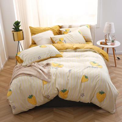 2020新款-超柔磨毛+水晶绒绒四件套 床单款四件套1.5m(5英尺)床 相恋草莓