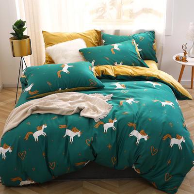 2019新款-超柔磨毛+水晶绒绒四件套 床单款四件套1.5m(5英尺)床 小飞马