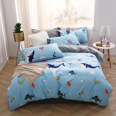 2019新款-超柔磨毛+水晶绒绒四件套 床单款四件套1.5m(5英尺)床 小蓝鲸