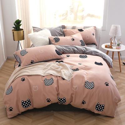 2020新款-超柔磨毛+水晶绒绒四件套 床单款四件套1.5m(5英尺)床 依波猫