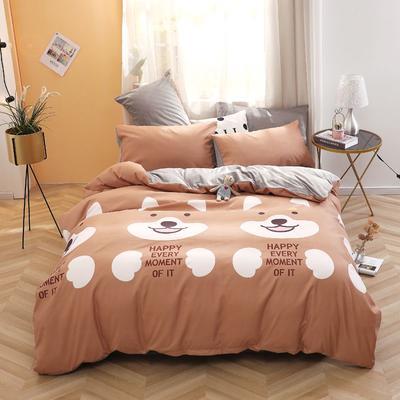 2020新款-超柔磨毛+水晶绒绒四件套 床单款四件套1.5m(5英尺)床 哈哈狗