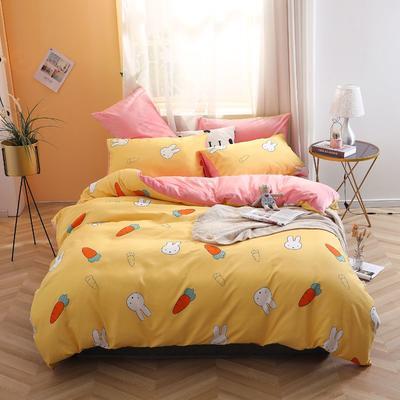 2019新款-超柔磨毛+水晶绒绒四件套 床单款三件套0.9m床-1.2m床 萝卜兔