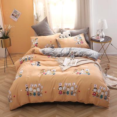 2020新款-超柔磨毛+水晶绒绒四件套 床单款四件套1.5m(5英尺)床 史努比