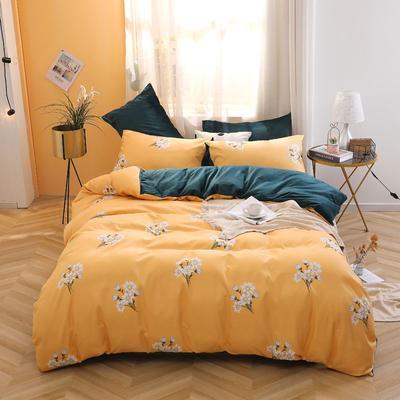 2020新款-超柔磨毛+水晶绒绒四件套 床单款四件套1.5m(5英尺)床 小美好