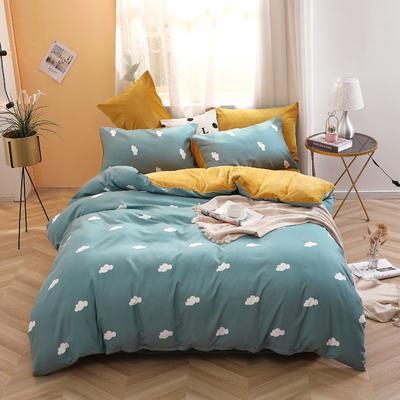 2019新款-超柔磨毛+水晶绒绒四件套 床单款三件套0.9m床-1.2m床 云朵-蓝
