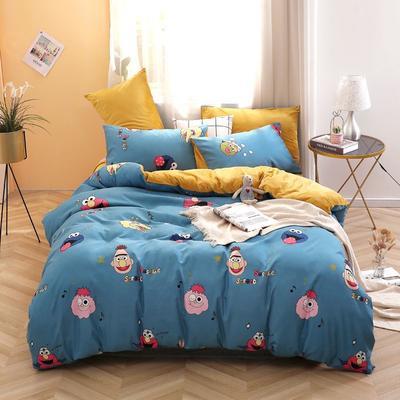 2020新款-超柔磨毛+水晶绒绒四件套 床单款四件套1.5m(5英尺)床 芝麻街