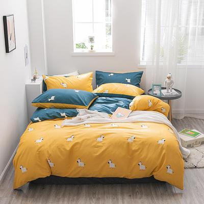 2019新款-13372全棉四件套 1.2m(4英尺)床 斑马-黄