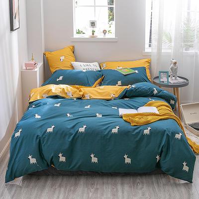 2019新款-13372全棉四件套 1.2m(4英尺)床 斑马-蓝