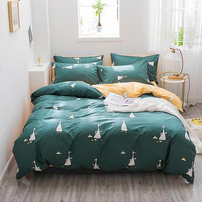 2019新款-13372全棉四件套 1.2m(4英尺)床 欢乐鸭-绿