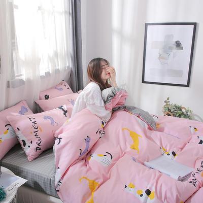 2019新款-13372全棉四件套 1.2m(4英尺)床 可爱猫咪