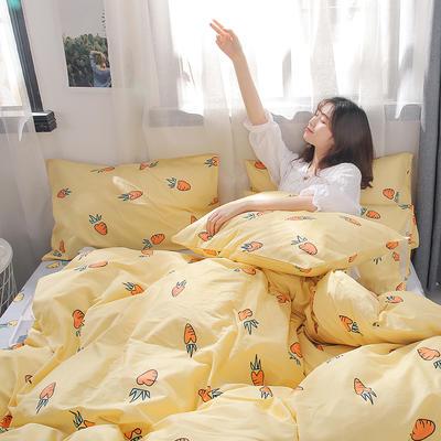 2019新款-13372全棉四件套 1.2m(4英尺)床 胡萝卜-黄