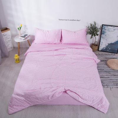 2020新款-色织水洗夏被四件套 夏被四件套200X230cm 粉色小格