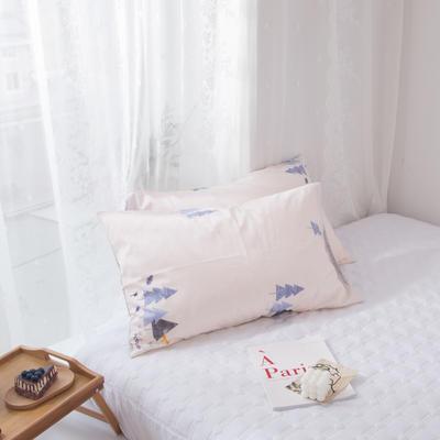 2020新款-ins全棉枕套 48x74cm/一对 松林AB版