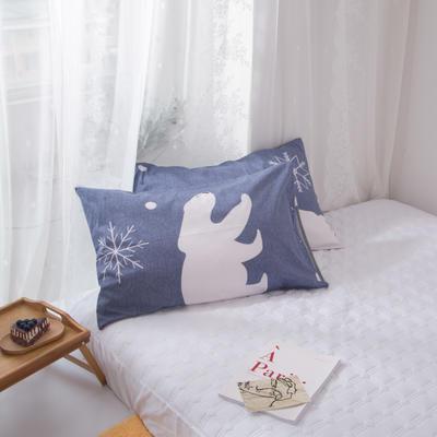 2020新款-ins全棉枕套 48x74cm/一对 雪花熊