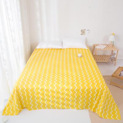 2020新款-ins网红风全棉床单 230x250cm 黄色波浪