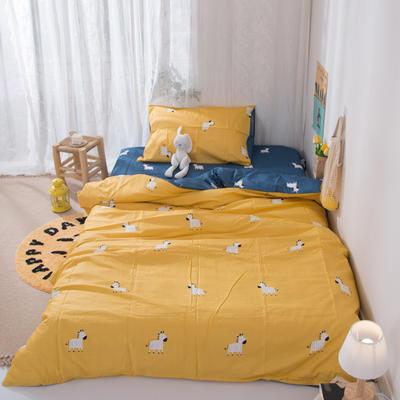2020新款-ins全棉学生三件套 1.2m床单款三件套 斑马-黄