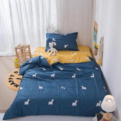 2020新款-ins全棉学生三件套 1.2m床单款三件套 斑马-蓝