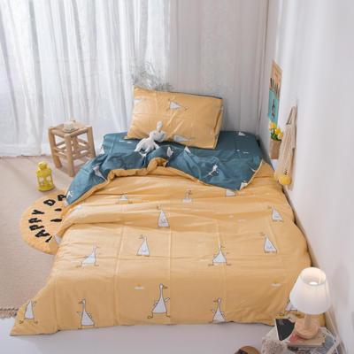 2020新款-ins全棉学生三件套 1.2m床单款三件套 欢乐鸭-黄
