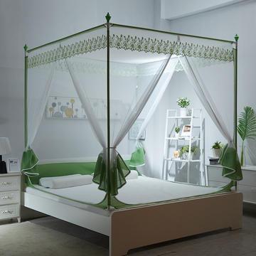 刺绣坐床三开门拉链蚊帐---TU型 1.5m(5英尺)床 草青色