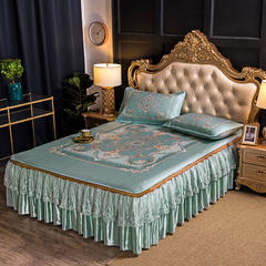600D凉席床裙脱卸款冰丝席三件套提花数码印花凉席 1.5*2.0m 爱情海