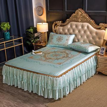 600D凉席床裙脱卸款冰丝席三件套提花数码印花凉席 1.5*2.0m 卡洛斯