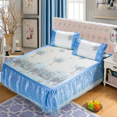 蕾丝床裙款三明治冰丝席 1.5米床 丛林蝶影-蓝色