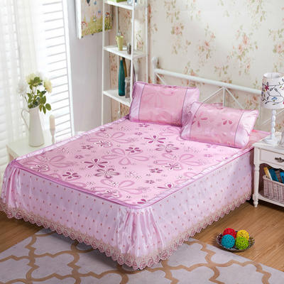 蕾丝床裙款三明治冰丝席 1.5米床 风车恋曲-粉色