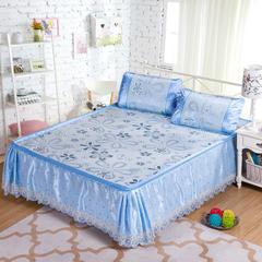 梦菲席业 蕾丝床裙款三明治冰丝席 1.5米床 风车恋曲-蓝色