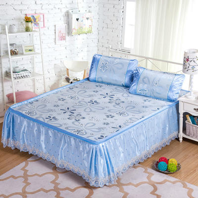 蕾丝床裙款三明治冰丝席 1.5米床 风车恋曲-蓝色
