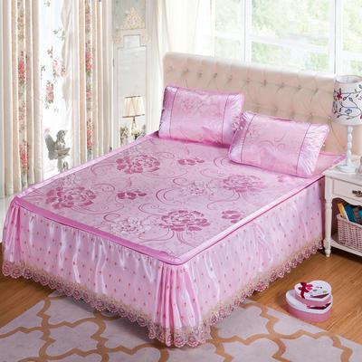 蕾丝床裙款三明治冰丝席 1.5米床 富贵花开-粉色