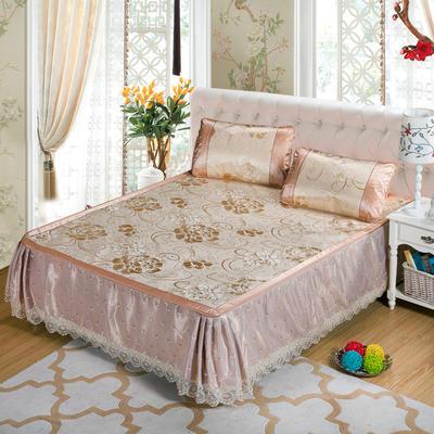 蕾丝床裙款三明治冰丝席 1.8*2.2米 富贵花开-金色