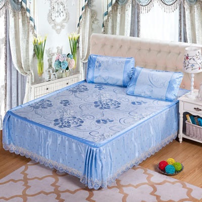 蕾丝床裙款三明治冰丝席 1.5米床 富贵花开-蓝色